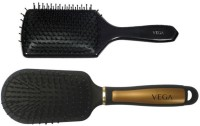 Vega Premium Paddle Hair Brush 8586 With Premium Collection Cushioned Brush E14-Cb (Set Of 2)