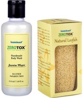 Healthbuddy Zerotox Handmade Body Wash Jasmine Mogra, 210 Ml & Natural Loofah (Set Of 2)