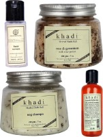 Khadi Natural Hair Serum, Bath Salt & Bubble Bath Combo Pack Of 4 (Set Of 4)