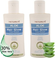 Yeturu's Aloe Hair Glow Cream Shampoo (Aloe Vera 30%) 100ml (Pack Of 2nos) (Set Of 2)