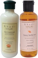 Khadi Mauri Honey Shampoo & Herbal Hair Conditioner Combo Pack Of 2 Ayurvedic Natural 210 Ml Each (Set Of 2)