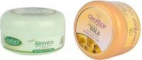 Clear Face Aloevera Cream (All Purpose) With 24 Carat Gold Dust Almond Oil Massage Gel (Set Of 2)