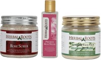 Herbal Roots Anti-ageing Kit With Rose Scrub, Cucumber Face Pack/mask, Premium Rose Water (Set Of 3)
