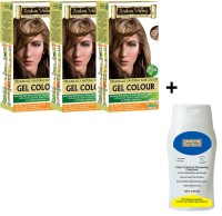 Indus Valley Organically Natural Gel Light Brown 5.0 Hair Color - Triple Pack With CP Shampoo Combo Kit (Set Of 4)
