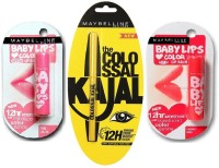 Maybelline The Colossal Kajal 0.35 G(Black),Baby Lips Pink Lolita(4 G)& Baby Lips Cherry Kiss (SPF20) (Set Of)