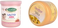 Clear Face Lacto De-Tan With Kesar & Milk With 24 Carat Gold Dust Almond Oil Massage Gel (Set Of 2)