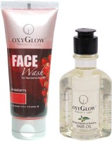 Oxyglow Strawberry Face Wash & Bhringaraj Regrowth & Revitalising Hair Oil (Set Of 2)