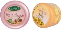 Clear Face Fruitwine Scrub With 24 Carat Gold Dust Almond Oil Massage Gel (Set Of 2)