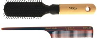 Vega Premium Flat Hair Brush E8-Fb With Handmade Tail Comb Hmc-10 (Set Of 2)