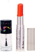 Color Fever 947 Topcoat Nail Polish+Neon Pink Lipstick (Set Of 2)