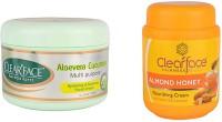 Clear Face Aloevera Cucumber Multi Purpose Facial Cream With Almond Honey Nourishing Cream (Set Of 2)
