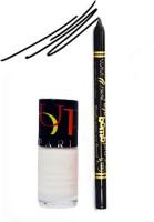 Bonjour Paris Color Fever 916 Black Pro Kajal+White Nail Polish (Set Of 2)
