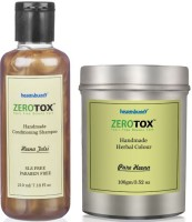 Healthbuddy Zerotox Handmade - Herbal Pure Heena Colour, 100 Gm And Conditioning Shampoo Heena Tulsi, 210 Ml (Set Of 2)