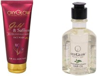 Oxyglow Golden Glow Gold & Saffron Face Wash & Bhringaraj Regrowth & Revitalising Hair Oil 120ml (Set Of 2)