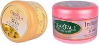 Clear Face 24 Carat Gold Dust Almond Oil Massage Gel With Fruit Wine Exfloiting Scrub (Set Of 2)