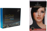Oxyglow Golden Glow Flawless Daimon Facial Kit & Hair Colour Cream-Black 175gm (Set Of 2)