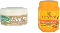 Clear Face Mud Pack Refines & Softness Skin Texture With Almond Honey Nourishing Cream (Set Of 2)