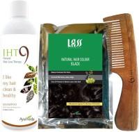 Lass Naturals Iht9 Hair Regrowth Shampoo With Natural Black Hair Colour +Neem Wood Hair Comb LC-1 (Set Of 3)