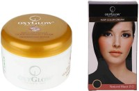 Oxyglow Saffron With Vitamin-E Gold Massage Cream & Hair Colour Cream-Black (Set Of 2)
