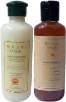 Khadi Mauri Henna Shampoo & Herbal Hair Conditioner Combo Pack Of 2 Ayurvedic Natural 210 Ml Each (Set Of 2)