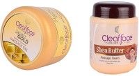 Clear Face 24 Carat Gold Dust Almond Oil Massage Gel With Shea Butter Massage Cream (Set Of 2)
