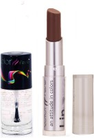 Color Fever 927 Topcoat Nail Polish+Coffee Lipstick (Set Of 2)