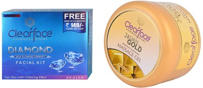 Clear Face Daimond Facial Kit & Gold Dust Almond Oil Massage Gel (Set Of 2)