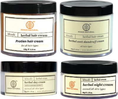 Khadi Natural Hair Cream, Day/Night Cream Combo Pack Of 4 (Set Of 4)