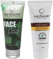 Oxyglow Neem & Tulsi Face Wash & Liquorice Mud Pack (Set Of 2)