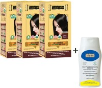 Indus Valley 100% Organic Botanical Indus Black Triple Pack Hair Color & CP Shampoo Combo Kit (Set Of 3)