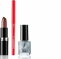 Faces Go Chic Lipstick Hazelnut + Magneteyes Kajal+ Splash Nail Enamel Shanghai Shimmer (Set Of 3)