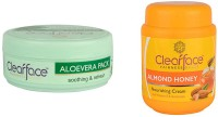 Clear Face Aloevera Pack (With Natural Herbs) With Almond Honey Nourishing Cream (Set Of 2)
