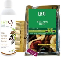 Lass Naturals Herbal Henna Powder With Iht9 Hair Regrowth Shampoo+Neem Wood Hair Comb LC-3 (Set Of 3)