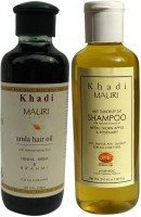Khadi Mauri Amla Hair Oil & Anti Dandruff Shampoo Combo Pack Of 2 Herbal Ayurvedic Natural 210 Ml Each (Set Of 2)
