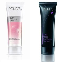 Pond's White Beauty Lightening Facial Foam &Pure White Deep Cleansing Facial Foam Face Wash (Set Of 2)