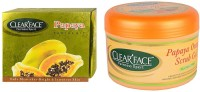 Clear Face Papaya Facial Kit With Papaya Orange Scrub Gel (Set Of 2)