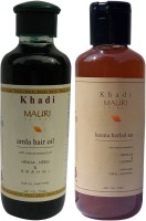 KHADI MAURI Amla Hair Oil & Henna Herbal Shampoo Combo Pack Of 2 Ayurvedic Natural 210 Ml Each (Set Of 2)