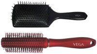 Vega Premium Paddle Hair Brush 8586 With Premium Round Hair Brush E11-Rb (Set Of 2)