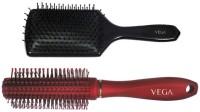 Vega Premium Paddle Hair Brush 8586 With Premium Round Hair Brush E11-Rb (Set Of 2)
