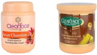 Clear Face Kesar Chandan Multivitamin Nourishing Skin Cream With 24 K Multi Vitamin Scrub Skin Rejuvenator (Set Of 2)