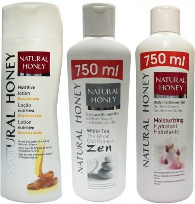 Natural Honey Nutritive Extra Dry Skin Body Lotion & White Tea Shower Gel & Moisturizering Shower Gel (Set Of 3)