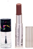 Color Fever 929 Topcoat Nail Polish+ChocolateLipstick (Set Of 2)