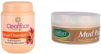 Clear Face Kesar Chandan Multivitamin Nourishing Skin Cream With Mud Pack 250 Gm (Set Of 2)