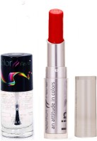 Color Fever 933 Topcoat Nail Polish+Red Lipstick (Set Of 2)