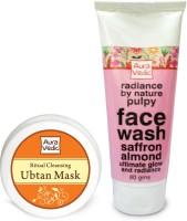 Auravedic Festive Glow Saffron Almond Rose Ubtan & Face Wash (Set Of 2)