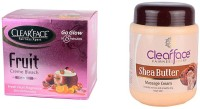 Clear Face Fruit Cream Bleach & Shea Butter Massage Cream (Set Of 2)