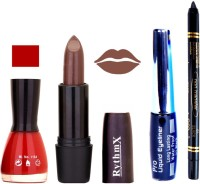 Rythmx Bright Red Nail Polish Coffee Brown Lipstick With Eyeliner And Pro Non Transfer Black Kajal 68097 (Set Of 4)