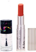 Color Fever 941 Topcoat Nail Polish+Brick Orange Lipstick (Set Of 2)