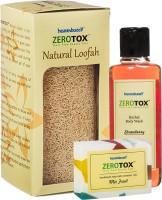 Healthbuddy Zerotox Herbal Strawberry Body Wash (210 Ml), Handmade Mix Fruit Soap (125 Gm) & Natural Loofah (Set Of 3)