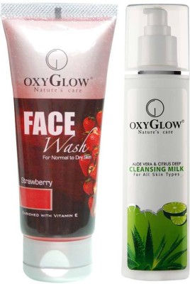 Oxyglow Combos and Kits Oxyglow Strawberry Face Wash & Aleo Vera & Citrus Deep Cleansing Milk